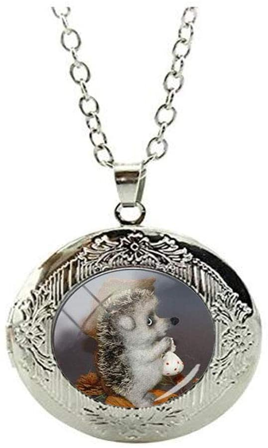 Beautiful Vintage Hedgehog Glass Locket Necklace Art Photo Jewelry Birthday Festival Gift Beautiful Gift