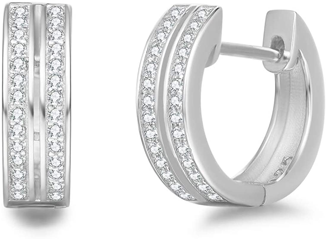 FANCIME Gold Plated Sterling Silver Cubic Zirconia CZ Double Row Channel Setting Hinged Thick Hoop Earrings Fine Jewelry For Women, 15mm/ 0.18