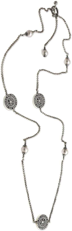 NOVICA Pearl Cultured Freshwater Pearl Necklace 'Borobudur Legacy'