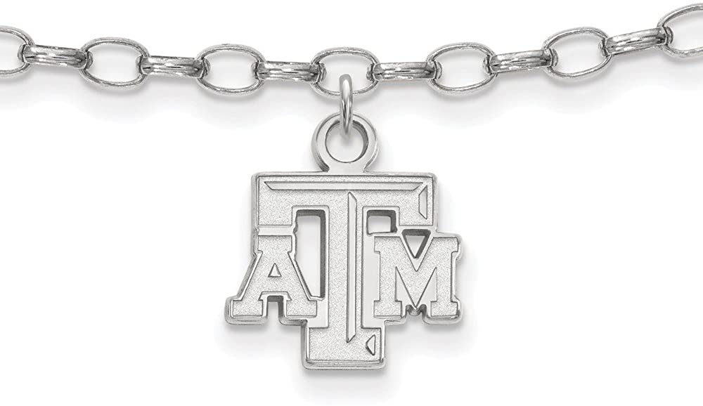 Solid 925 Sterling Silver Texas A&M University Anklet - with Secure Lobster Lock Clasp (11mm)