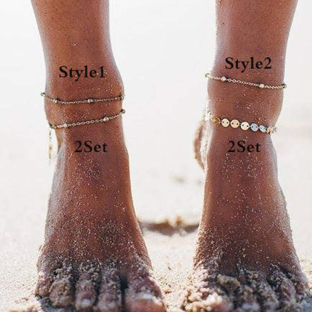 Simsly Boho Beach Ankle Bracelets Sequins Anklet Beaded Foot Jewelry Chain for Women and Girls(Style2/Gold)