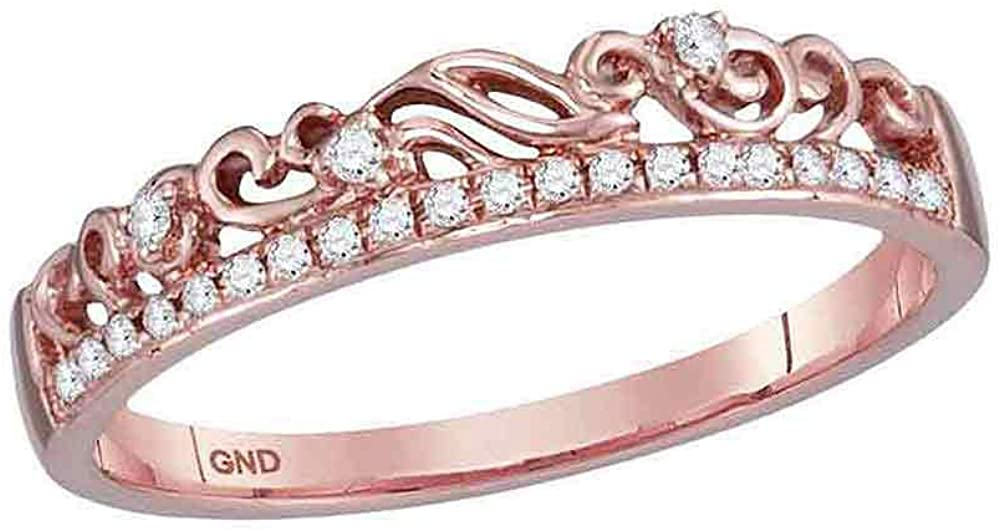 Diamond Floral Accent Fashion Ring Stackable Band Style 1/12ct 10k Rose Gold