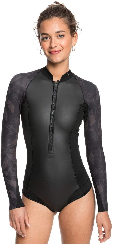 Roxy Womens 1Mm Satin - Long Sleeve Front Zip Bikini Cut Shorty - Women - 12 - Black Black 12