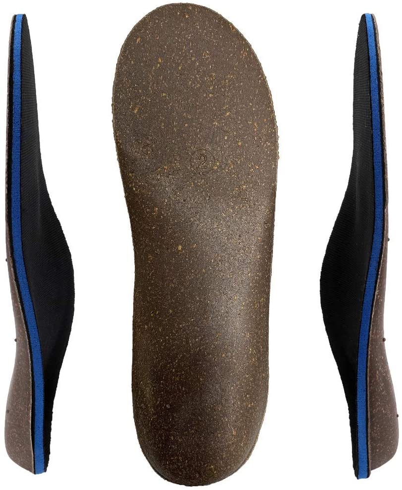 Cork Orthotics Insoles Netural Arch Support Full Length Shoes Inserts (Blue, Womens 7-7.5)