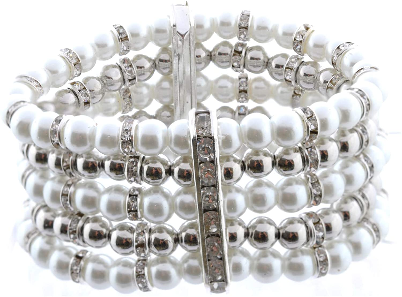 Topwholesalejewel Wedding Bracelet Faux Pearl Cultured Bracelet
