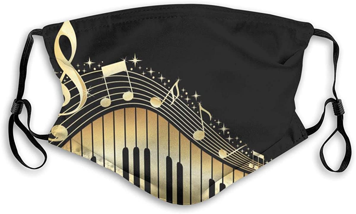 BOKUTT Masque Masks Bling Music e Piano Printed Washable with Adjustable Straps for Kids Man and Woman-Windproof and dustproof, reusable,Breathable, odor-proof and washable