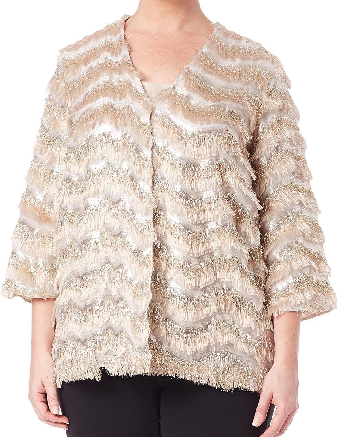 Marina Rinaldi Women's Cincin Fringe Detailed Jacket, Beige/ 18W / 27