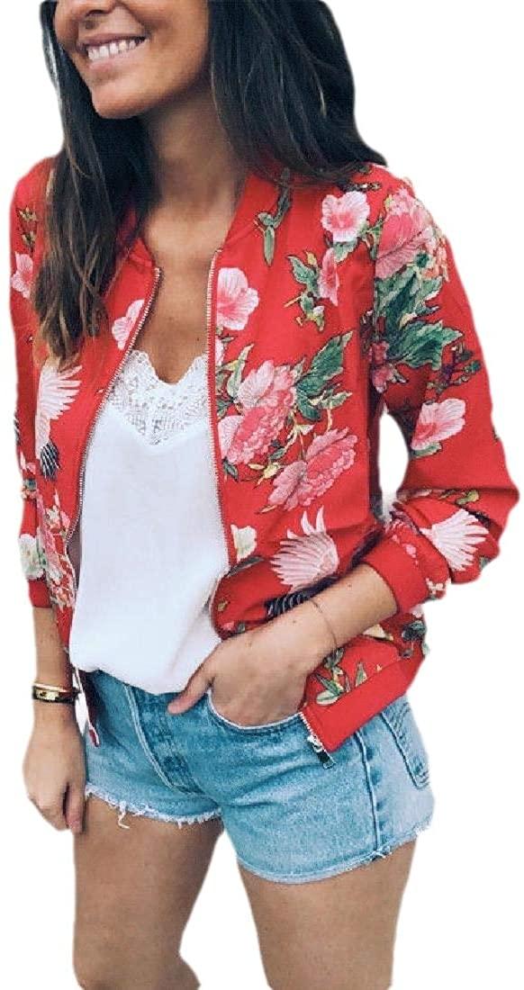 Hmarkt Women Long Sleeve Jacket Floral Print Zip Up Casual Baseball Bomber Jacket