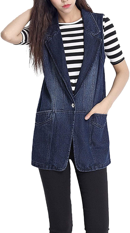 Flygo Women's Classic Mid Long Denim Vest 100% Cotton