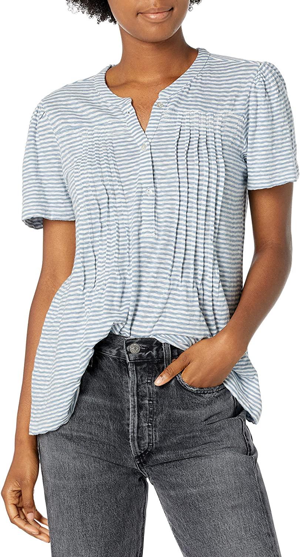 Lucky Brand Women's Short Sleeve Button Up Striped-Knit Seersucker Top
