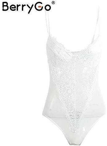 ShoppingAvenue Berrygo Y Backless Lace Bodysuit Black Skinny Fringe Bodysui White/S