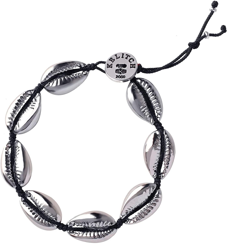 KELITCH Gold Shell Cowry Cuff Bracelets Bangle Tropical Beach Strand Bracelets Adjustable Friendship Bracelets for Womens