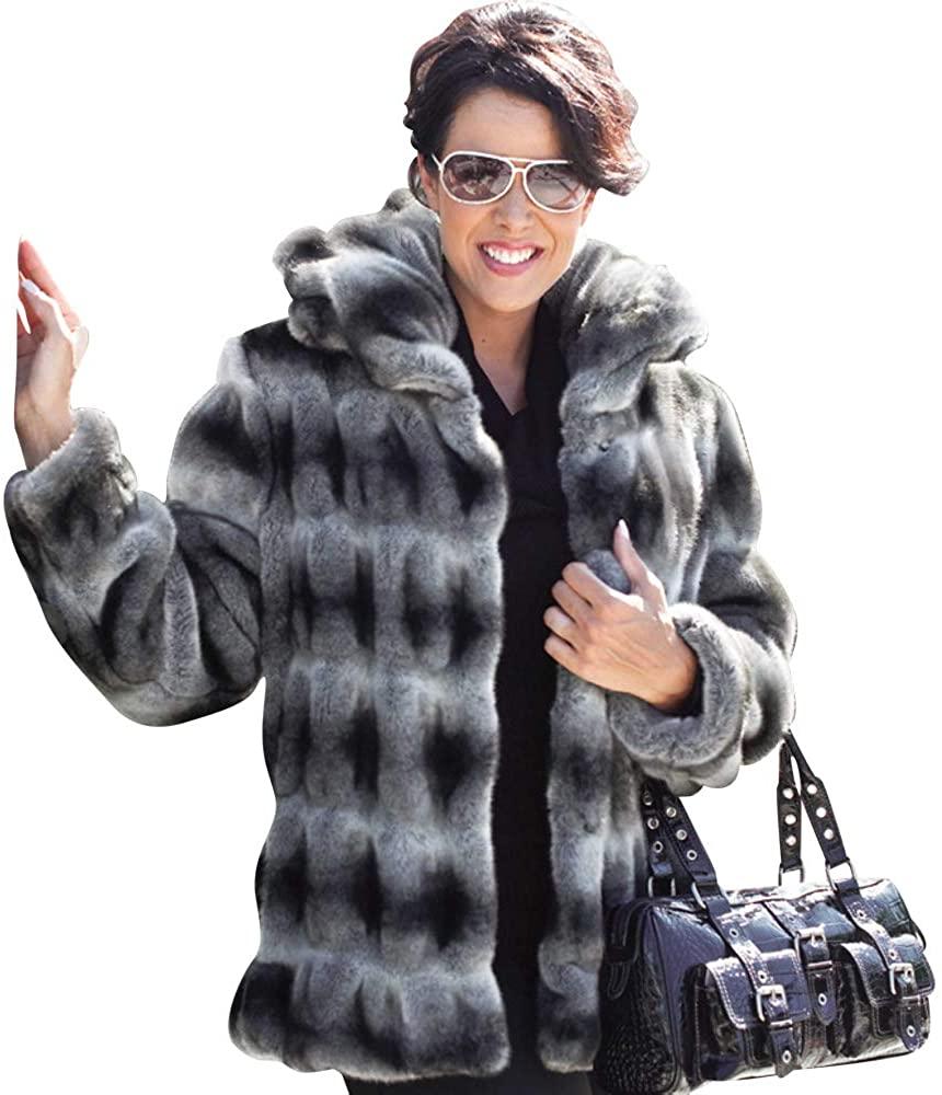 Sheldon G International Faux Fur Grey Chincilla Coat