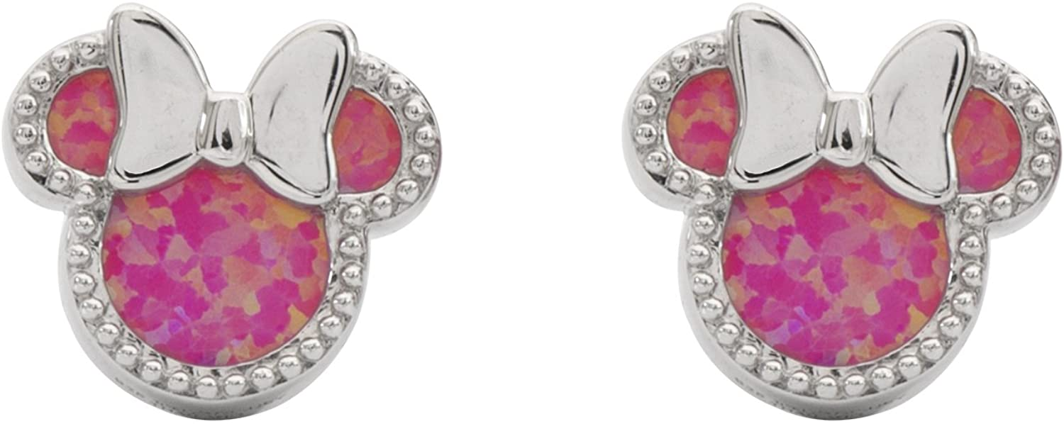 Disney Jewelry Mickey or Minnie Mouse Sterling Silver Synthetic Opal Stud Earrings