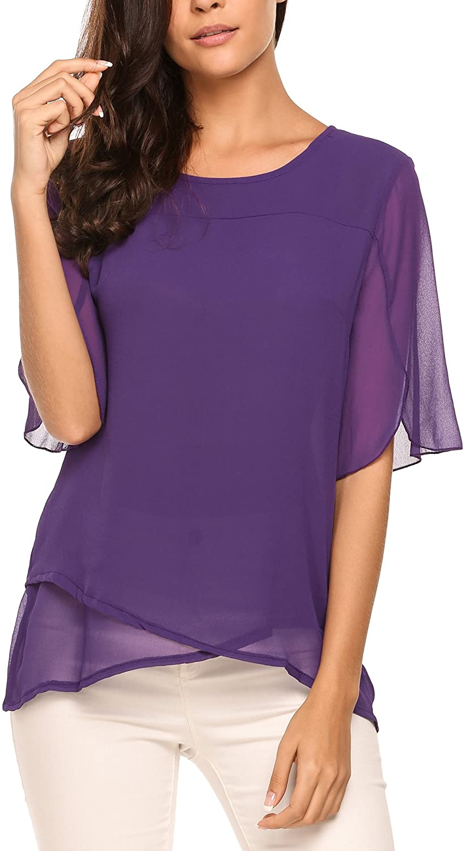 Zeagoo Womens Chiffon Blouses 3/4 Sleeve Tops Scoop Neck Layered Elegant Shirt