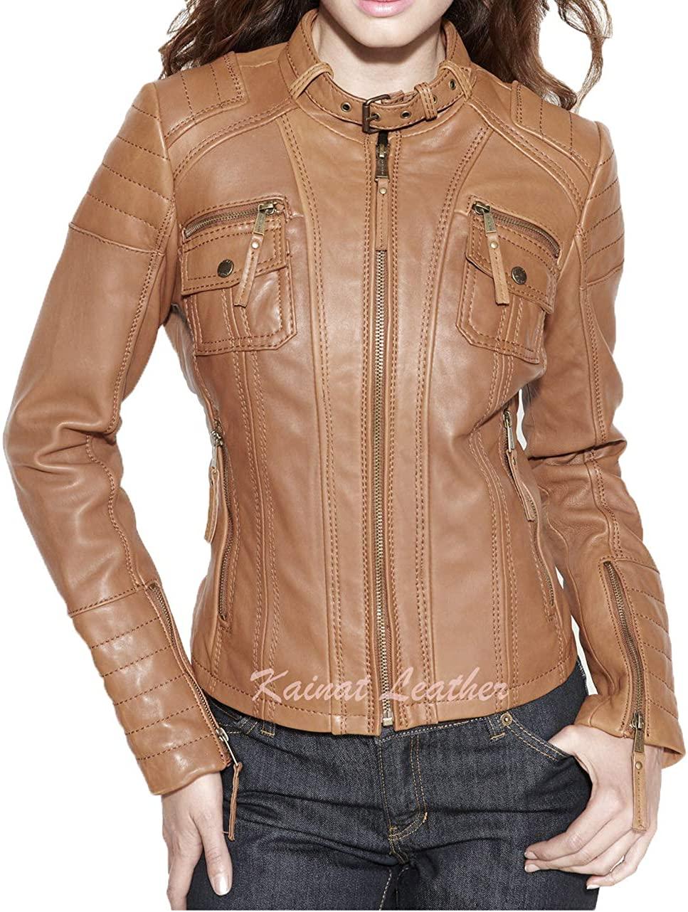KAINAT Lambskin Leather Craft Women's Biker Jacket 56