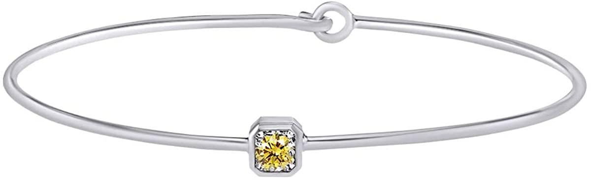 1/2 CT Cushion Yellow Natural Diamond Bangle Bracelets In 14k Gold Over Sterling Silver (I2-I3 Clarity, 0.50 Cttw)