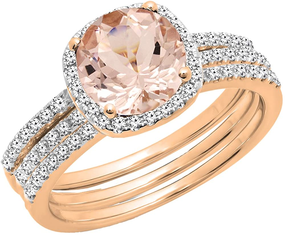 Dazzlingrock Collection 10K 6 MM Round Gemstone & Diamond Ladies Halo Engagement Ring With Double Band Set, Rose Gold