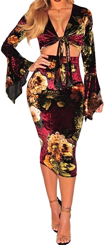 SuperMo Women's Velvet Floral Tie up Bell Sleeve Two Piece Skirt Set