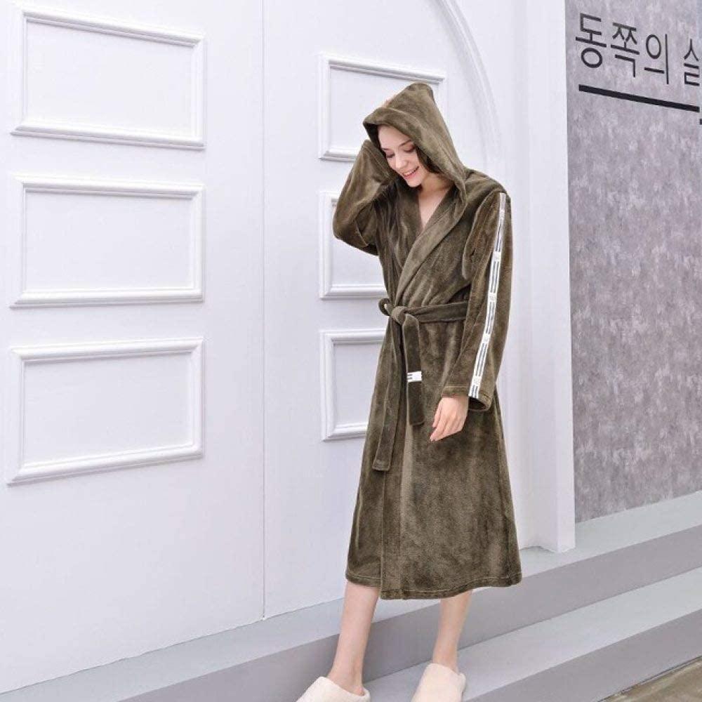 llwannr Bathrobe Robe Nightgown Sleep,Winter Unisex Bathrobe Women Men Thicken Warm Flannel Robes Lovers Plus Size Kimono Bath Robe Couples Dressing Gown,Hooded,ArmyGreen,M