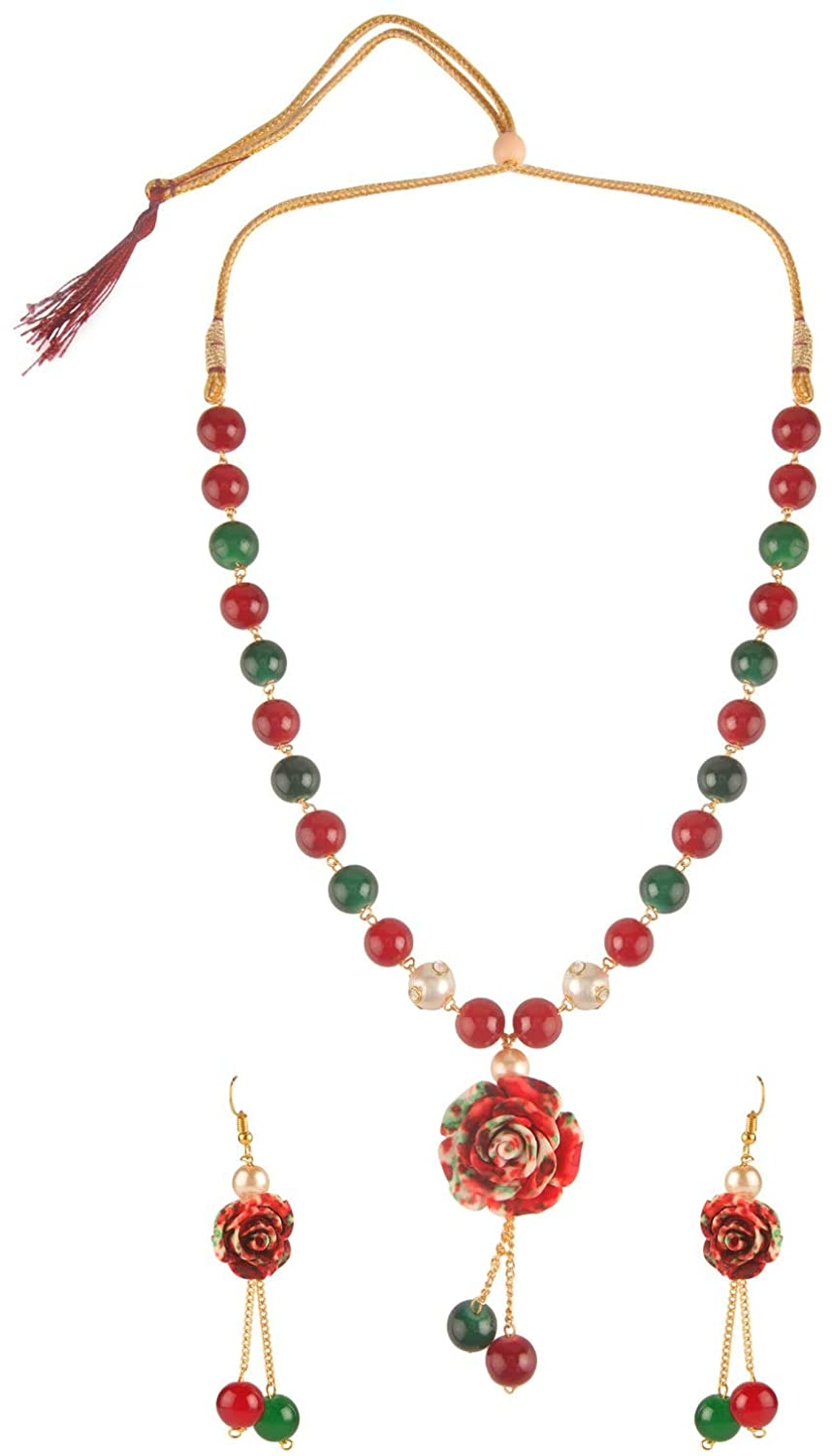 Efulgenz Multi Color Floral Faux Pearl Beads Strand Necklace Earrings Fashion Costume Jewelry Set for Women Girls