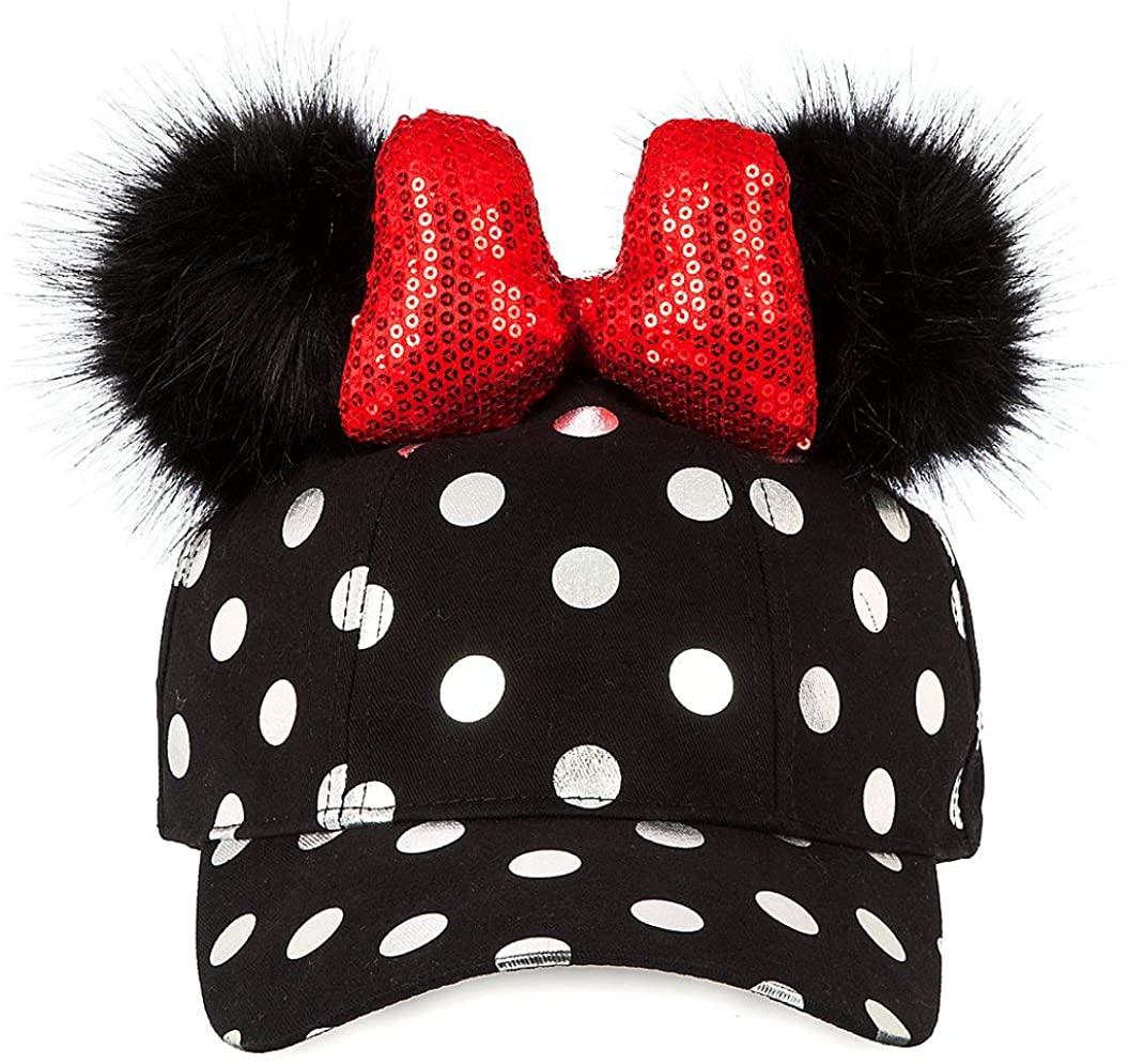 Disney Minnie Mouse Polka Dot Pom Pom Baseball Cap with Bow Black