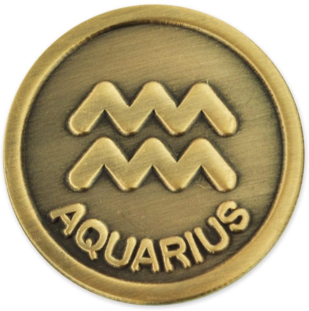 PinMart Antique Gold Aquarius Zodiac Water Bearer Symbol Lapel Pin