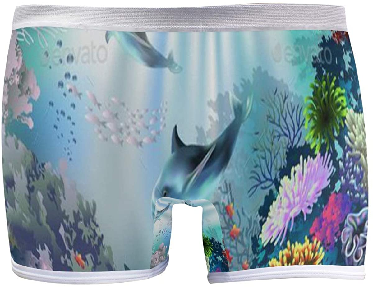 SLHFPX Underwater World 590 Women's Seamless Boyshort Sport Panty Stretch Underwear Boy Shorts