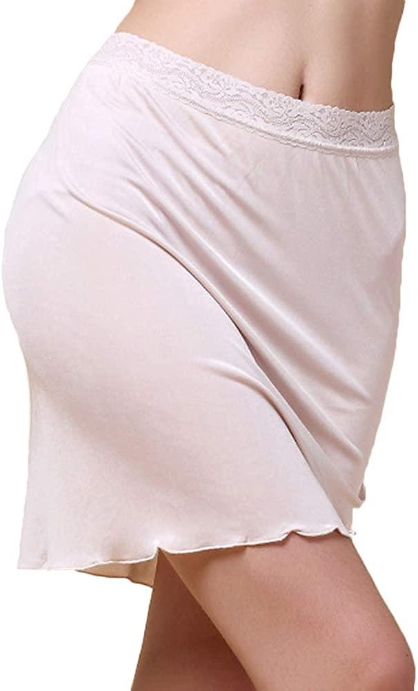 Silk Adjustable Waist Half Slips for Women Lace Trim Underskirt