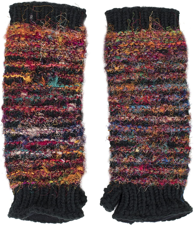 Multi Color Recycled Silk Fingerless Gloves