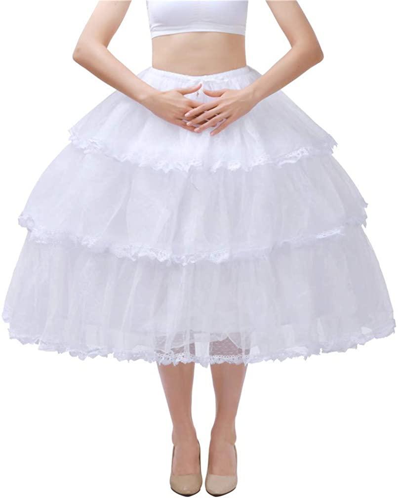 Noriviiq Womens White 3 Hoop Petticoat Skirt Underskirt Lace Lolita Dress Crinoline Adjustable