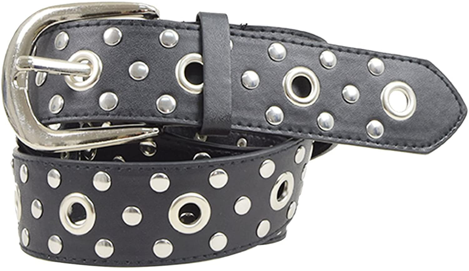 Very Last Shop Women's Punk Rock & Roll Rivets Studded PU Belt with Full Holes 2 Colors