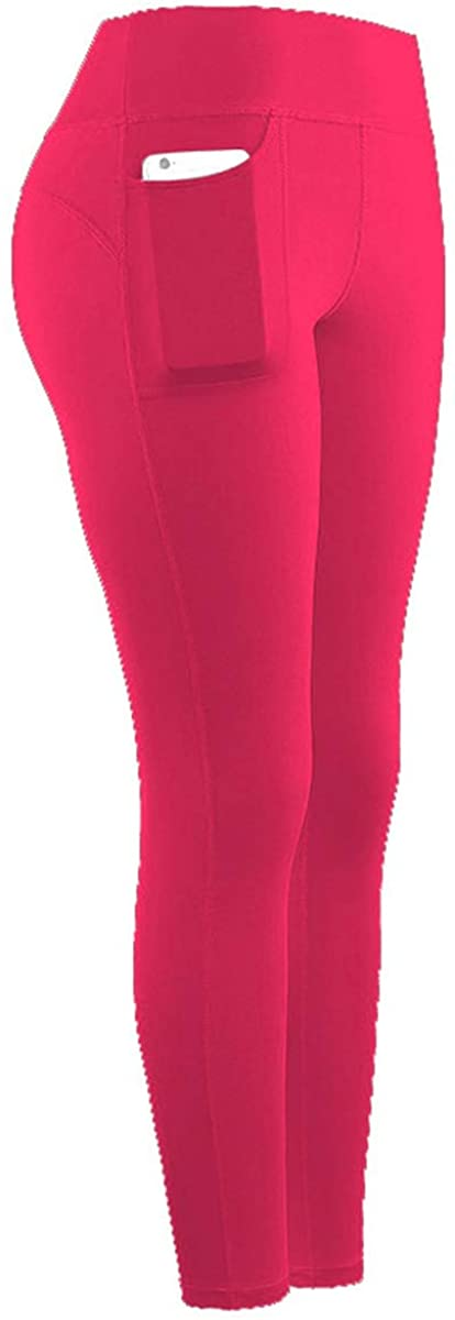 TiaoBug Women High Waist Stretchy Sports Pockets Leggings Yoga Pants Fitness Running