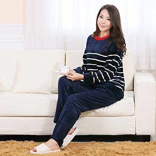 SS&LL Striped Couple Breathable Home Service Suit Thickening Fashion Flannel Comfort Pajamas Loose Bathrobes,Ms,L