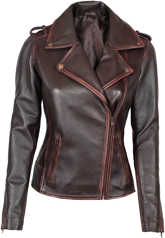 Womens Brown Jacket - Chaquetas de Cuero para Mujer | [1300883] Kristen, M