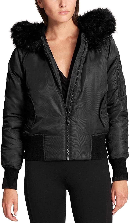 DKNY Faux-Fur-Trim Down Bomber Jacket Black Medium