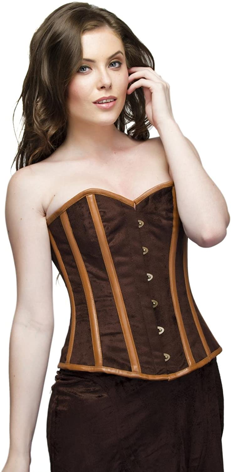 Brown Velvet Leather Strip Steampunk Plus Size Corset Waist Shaper Overbust Top