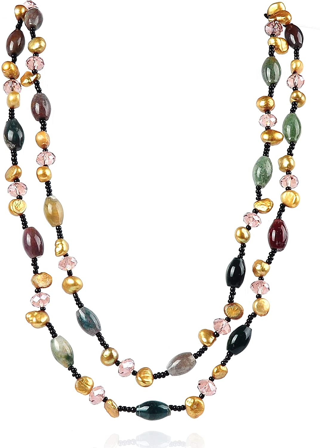 Two Strand Fashion Crystal Genuine Freshwater Cultured Pearl Necklaces SKU#: nk178