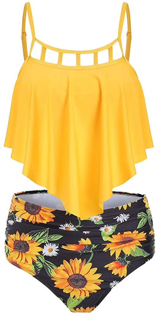 XUEJIN Women's High Neck Two Piece Bathing Suits Top Sunflower High Waist Swimsuit Tankini Bikini Sets