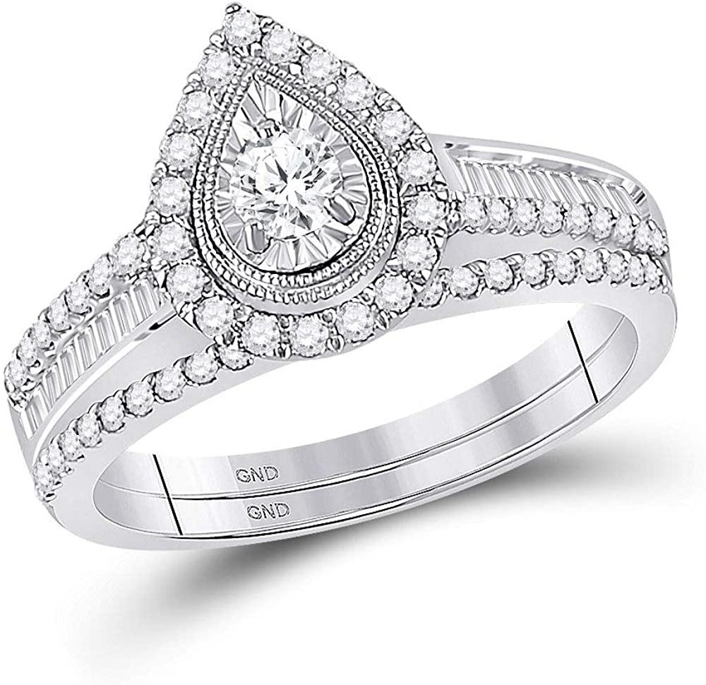 Dazzlingrock Collection 10kt White Gold Round Diamond Bridal Wedding Ring Band Set 5/8 Cttw