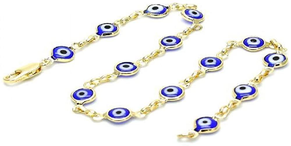 MariVilla Evil Eye Dainty Anklet Gold Layered