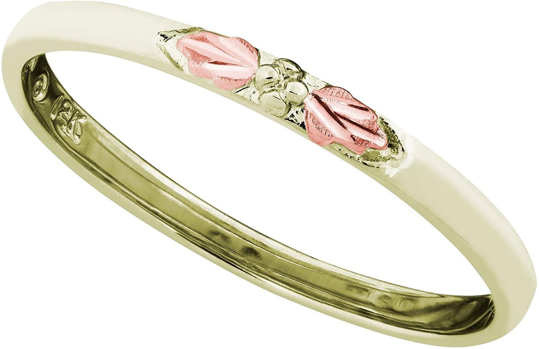 10k Green Gold Grape Leaf Design 2mm Stacking Ring, 12k Rose Gold Black Hills Gold
