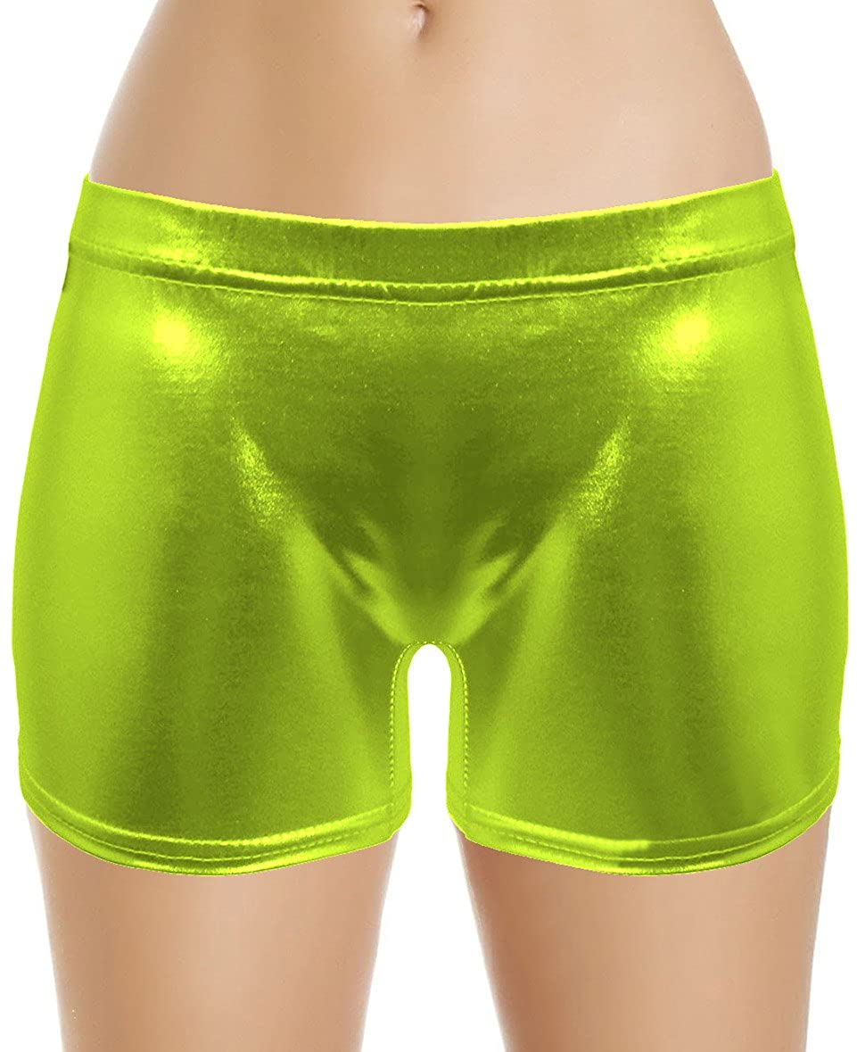 Sheface Women's Shiny Metallic Stretchy Hot Pants Casual Shorts Underwear (Lime Green, Kids Small)