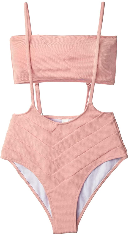 CUPSHE Women's Peach Bandeau High Waist Suspender Two Piece Swimsuit