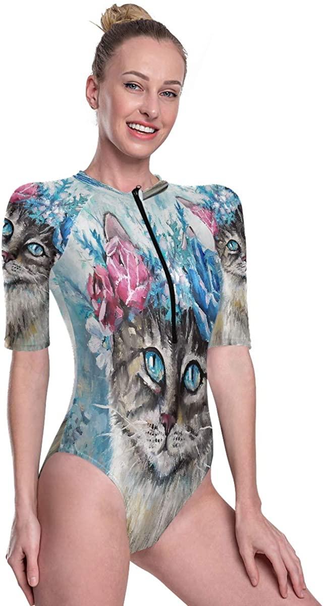 Womens Zip Up Printed Short Sleeve 1 Piece Rash Guard Swimsuit Painting Cute Cat Flower Wreath Swimwear