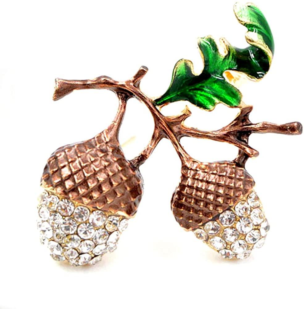Joji Boutique: Bejeweled and Enameled Golden Acorn Pin