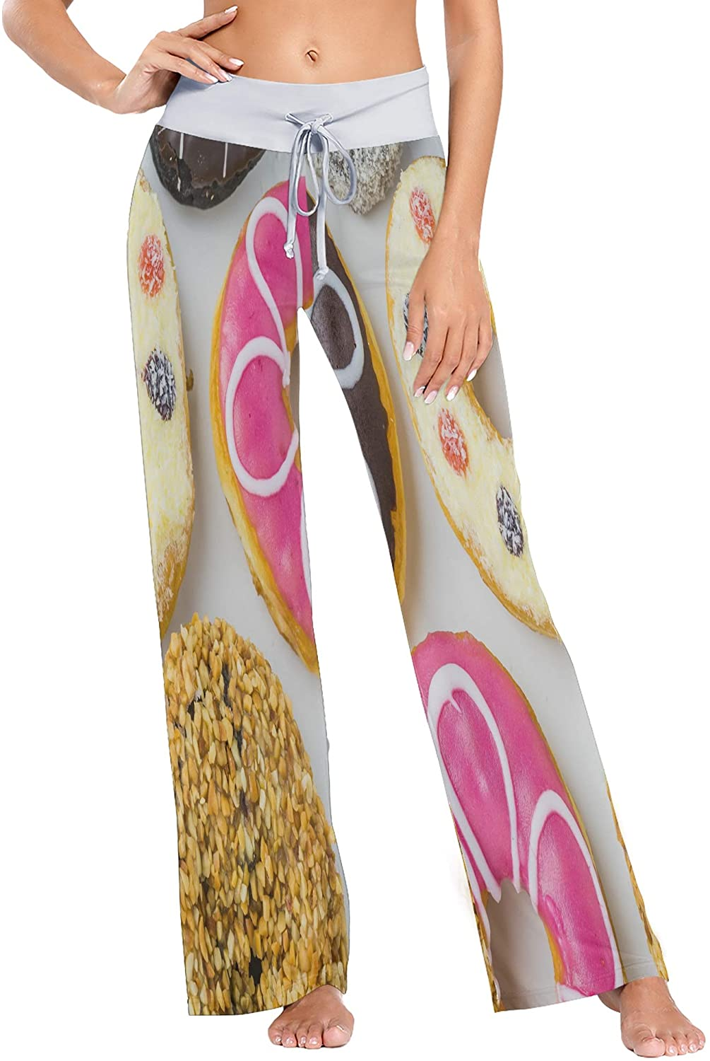 Womens Pajama Lounge Pants Fantastic Donuts Wide Leg Casual Palazzo Pj Sleep Pants Girls