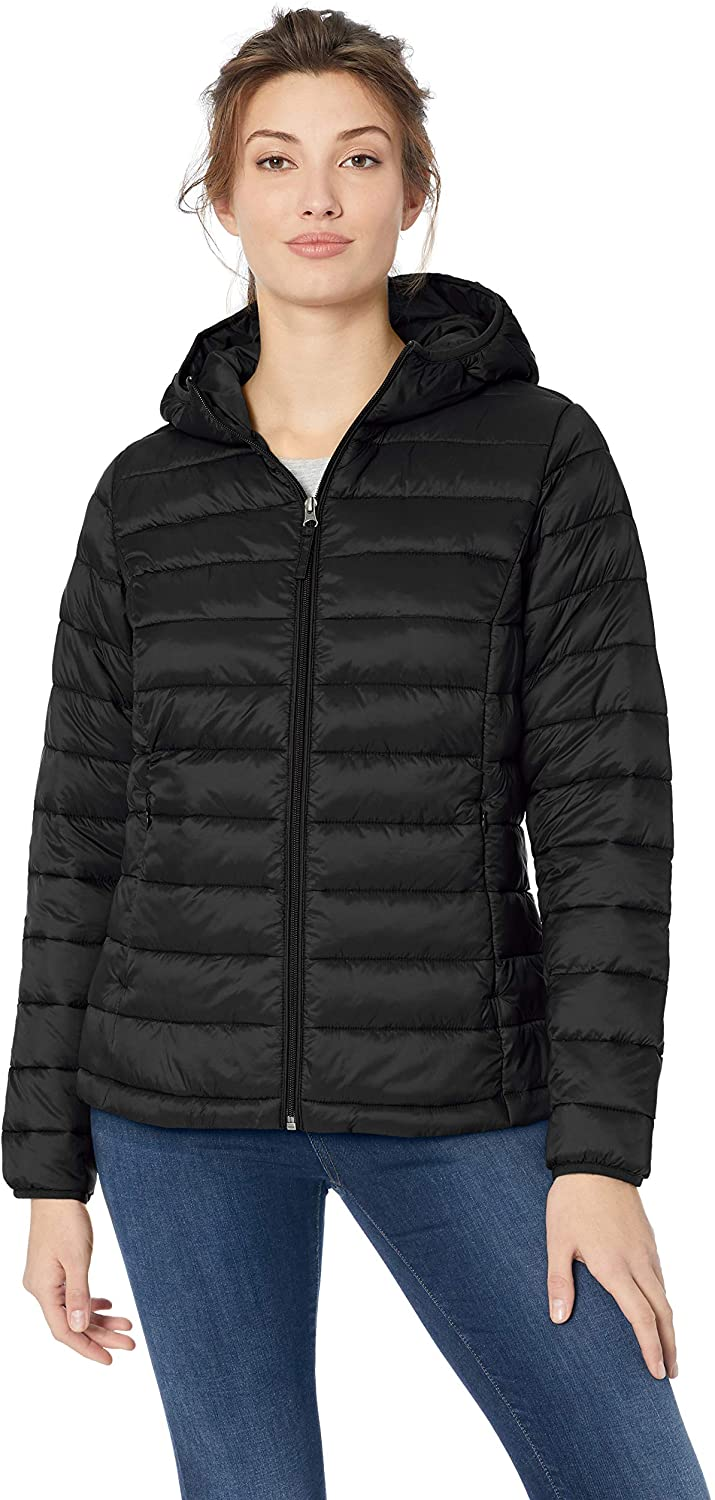 DHgate Essentials Women's Lightweight Long-Sleeve Full-Zip Water-Resistant Packable Hooded Puffer Jacket
