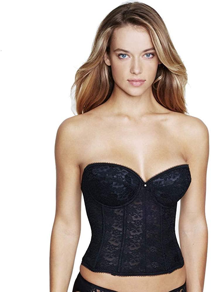 Dominique Lace Bridal Strapless Braselette Style 7749, Black, 40D