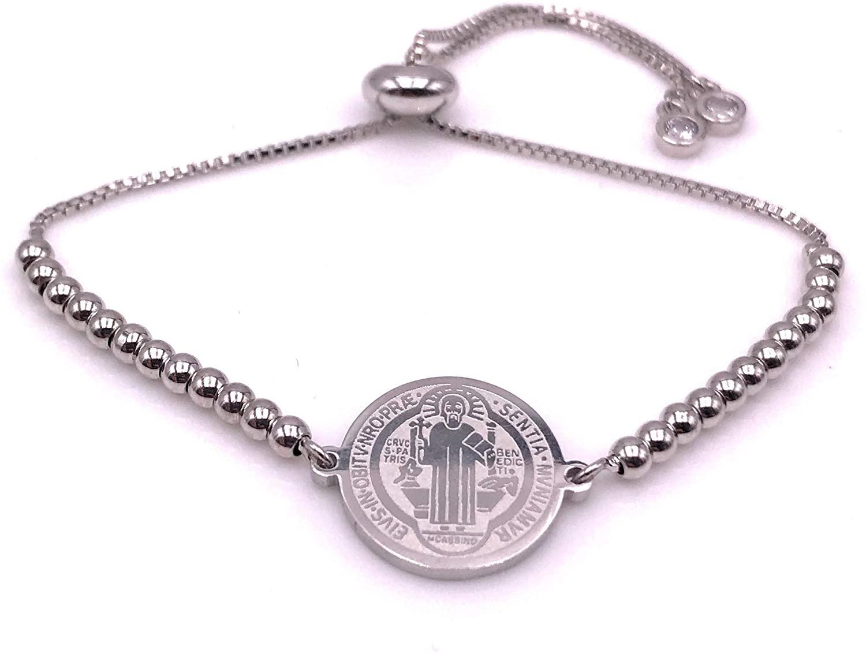 Gold Beaded Saint Benedict Bracelet Adjustable for Women Protection Jewelry